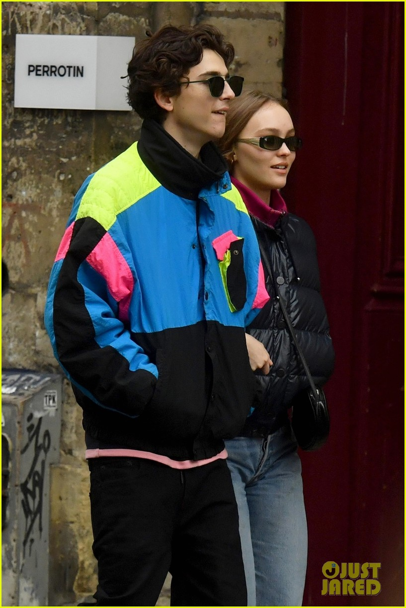 timothee chalamet lily rose depp stroll arm in arm in paris 04