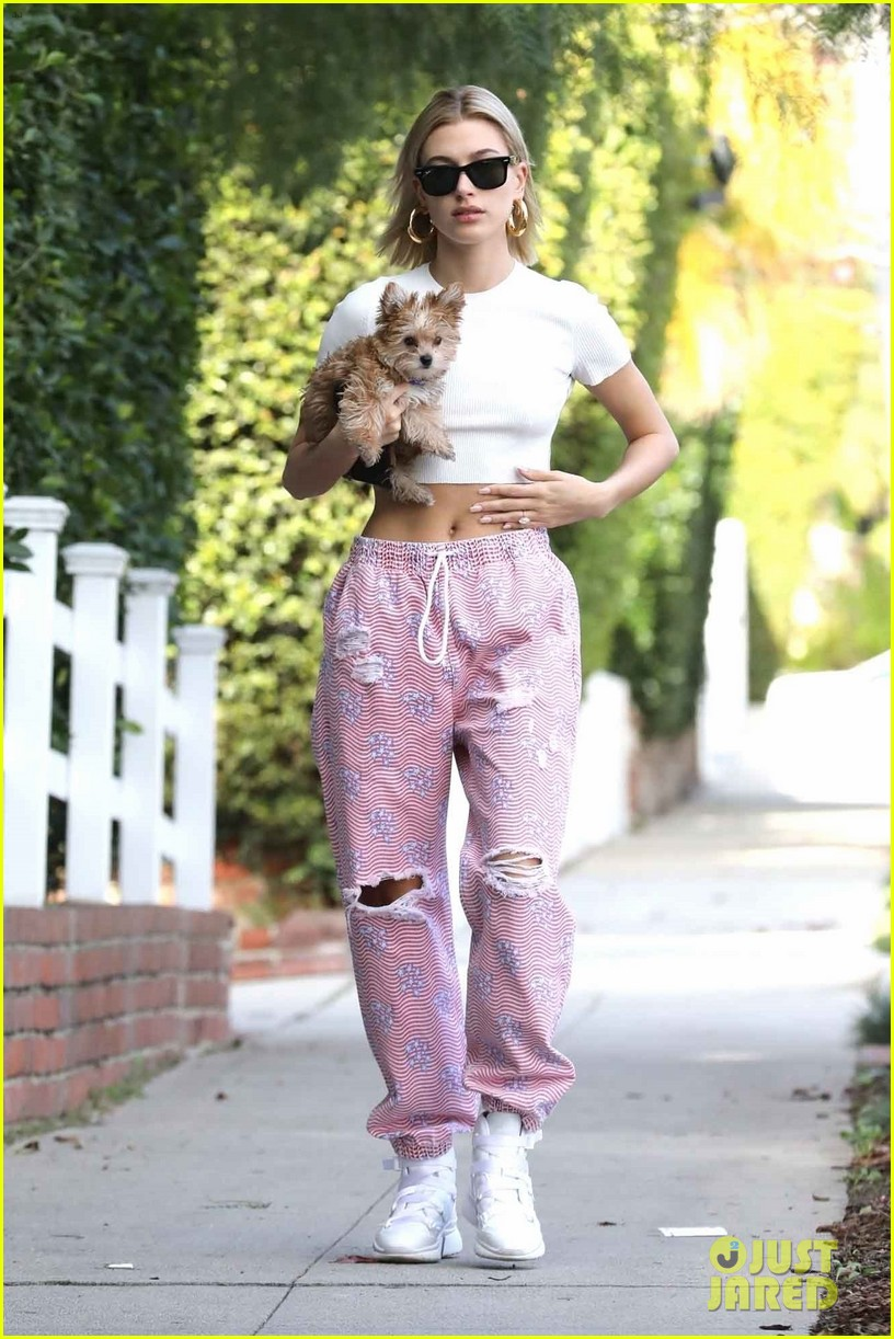 hailey bieber flashes her midriff while stepping out with puppy oscar 03