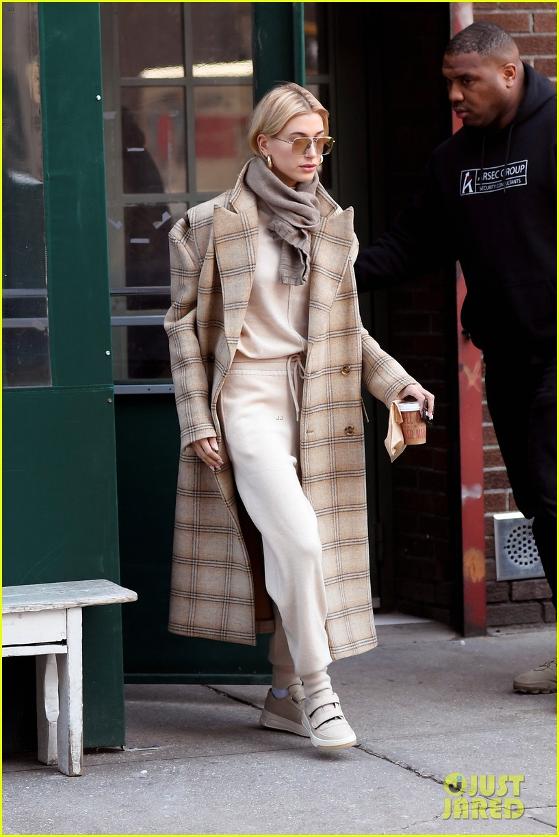 hailey bieber bundles up for morning coffee 01