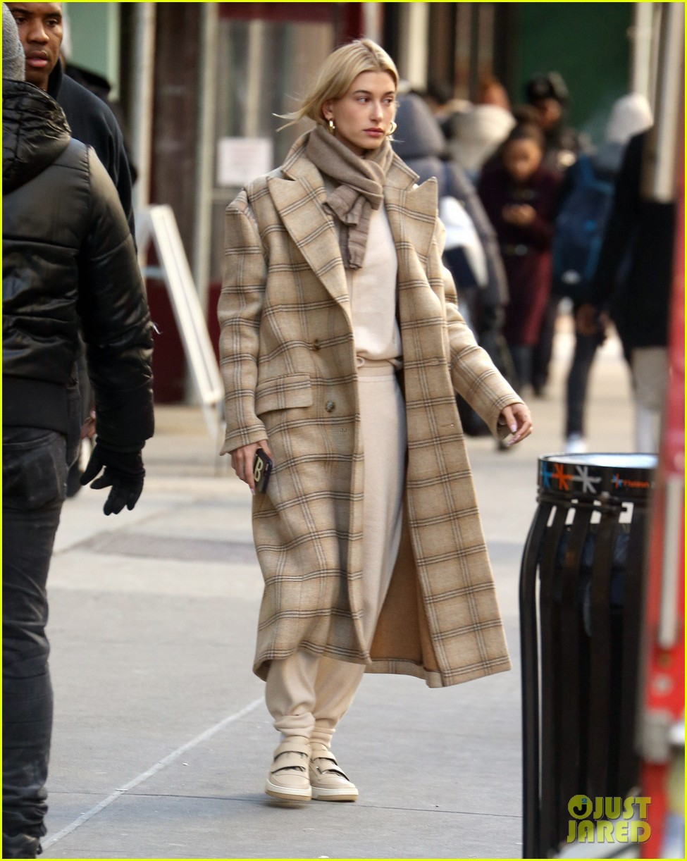 hailey bieber bundles up for morning coffee 05