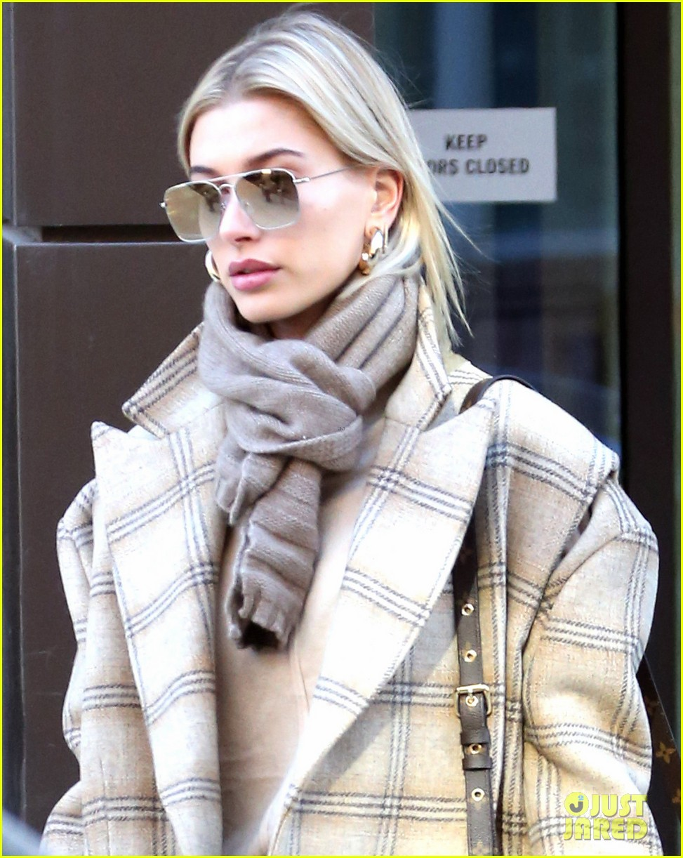 hailey bieber bundles up for morning coffee 08