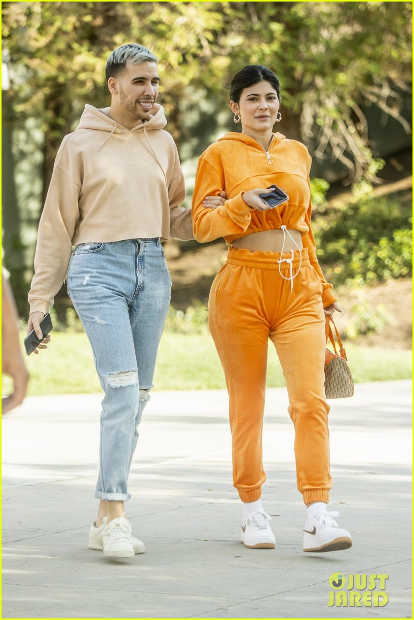 kylie jenner sports orange track suit for lunch at sugar fish 01