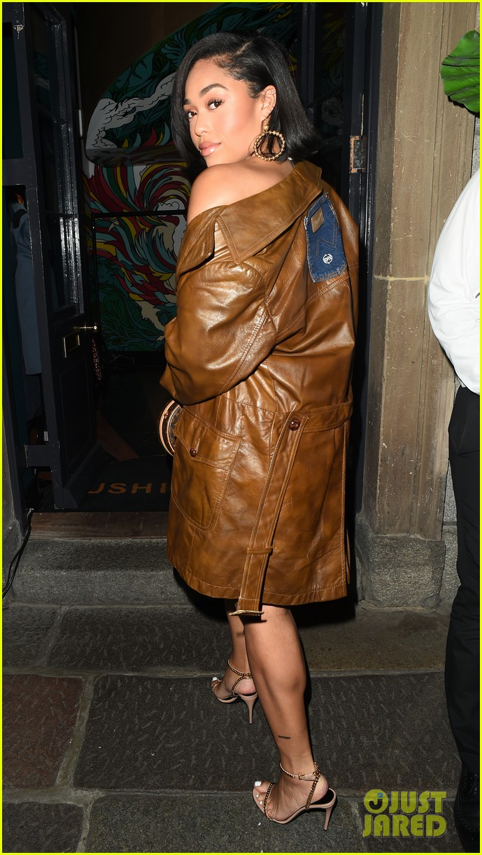 jordyn woods glows in gold while out for dinner in london 01