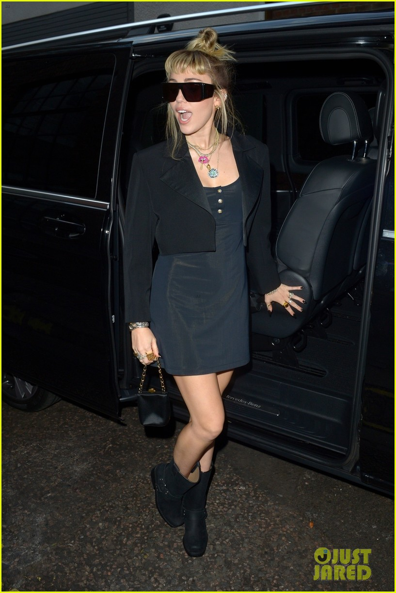 miley cyrus rocks little black dress for night out in london 03
