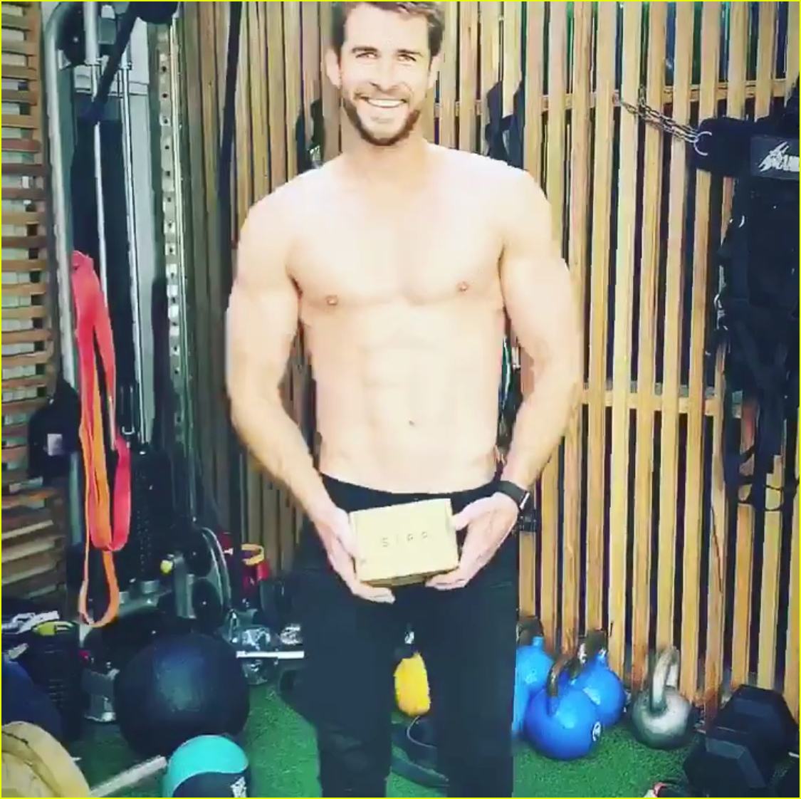 liam hemsworth goes shirtless bares six pack while working out with chris hemsworth 01