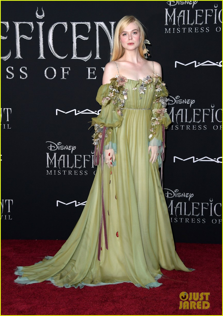 Elle Fanning Glows In Green Floral Dress At Maleficent 2