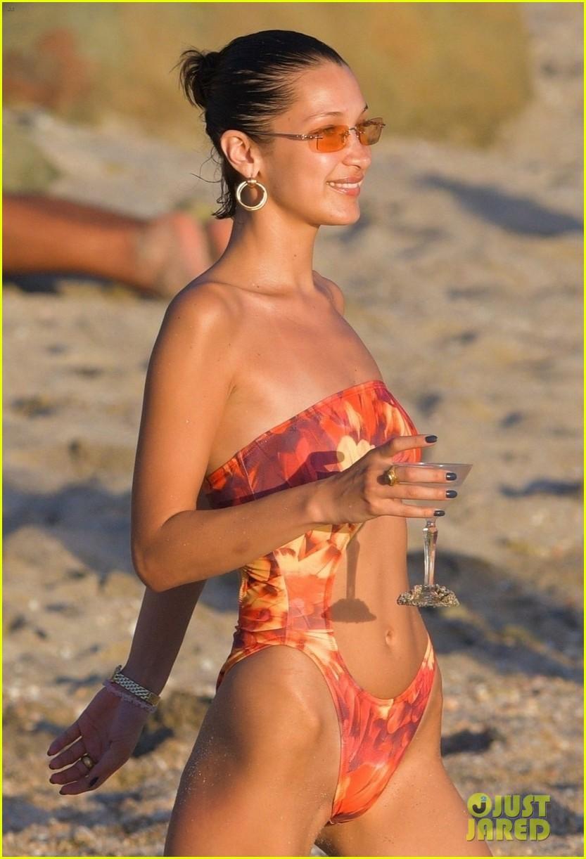 bella hadid rocks sexy bikini beach st barts 02