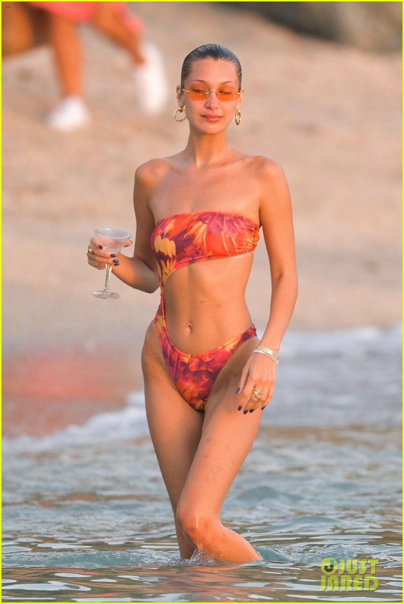 bella hadid rocks sexy bikini beach st barts 07