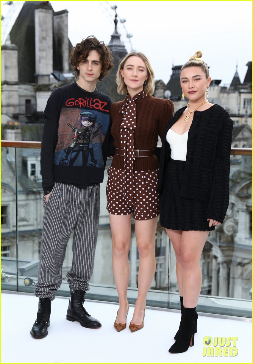 timothee chalamet saoirse ronan florence pugh hit london for little women photo call 12