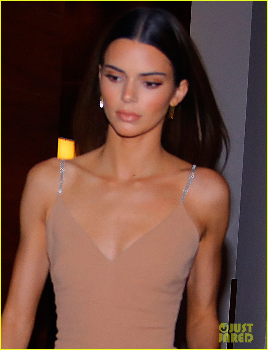 kenall jenner goes sultry flesh colored dress night out 02