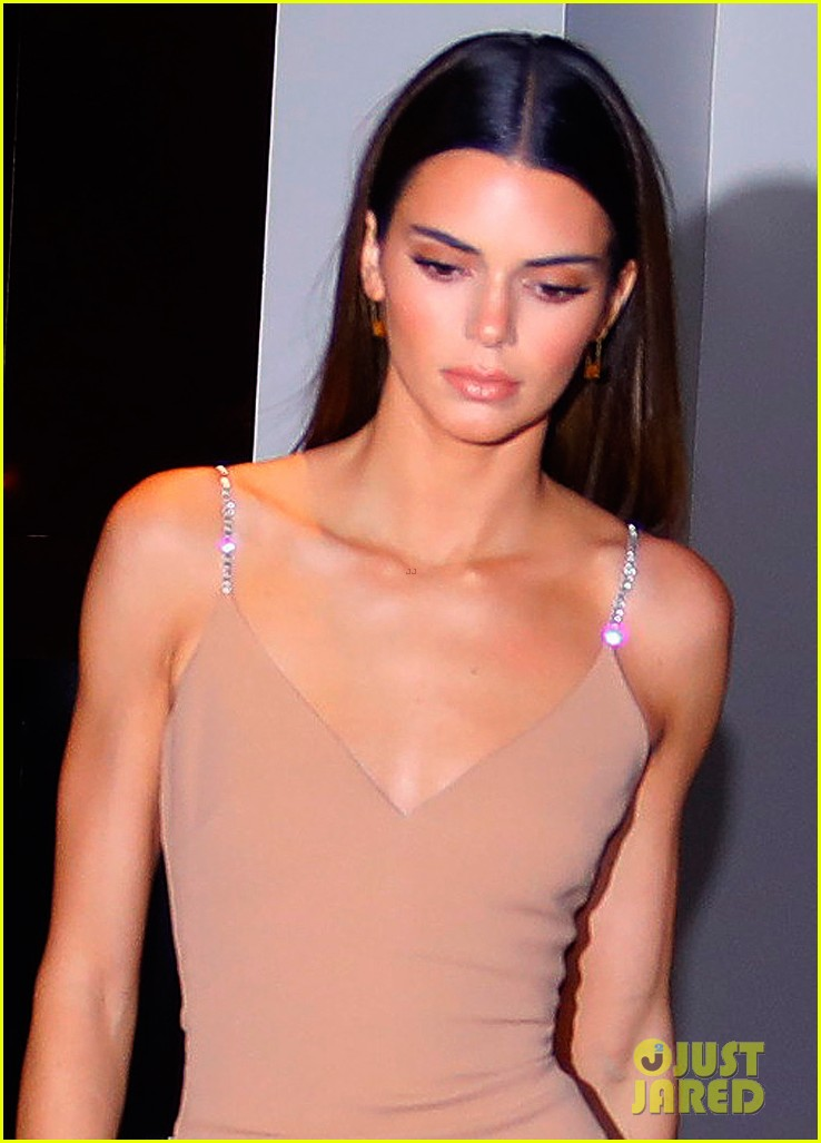 kenall jenner goes sultry flesh colored dress night out 04