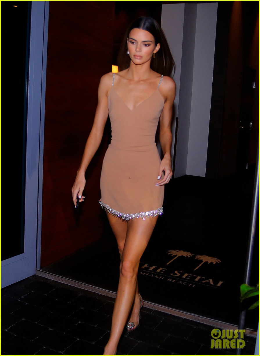 kenall jenner goes sultry flesh colored dress night out 05