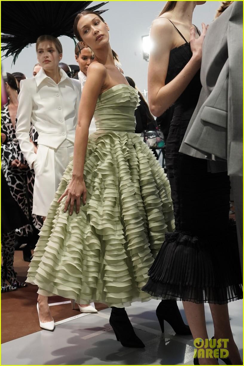 bella hadid green dress joan smalls tux pfw vauthier 02