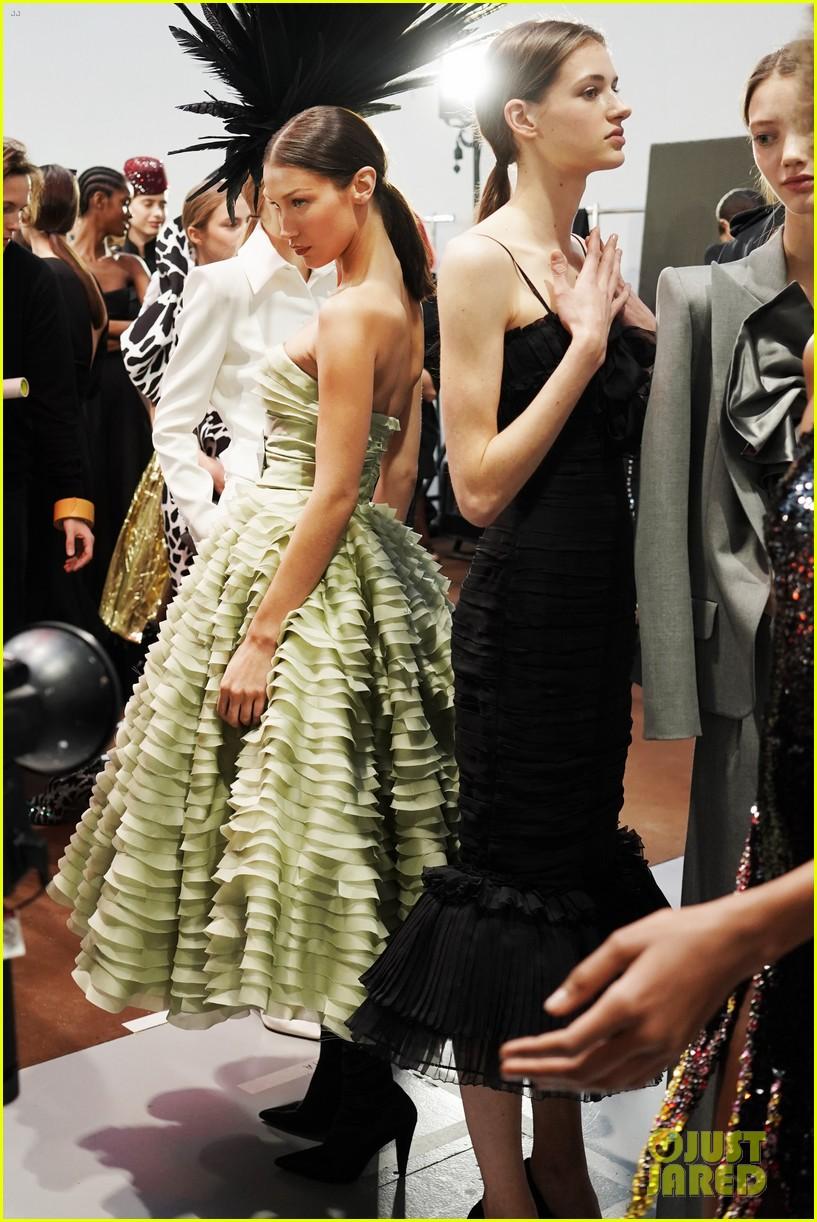 bella hadid green dress joan smalls tux pfw vauthier 09