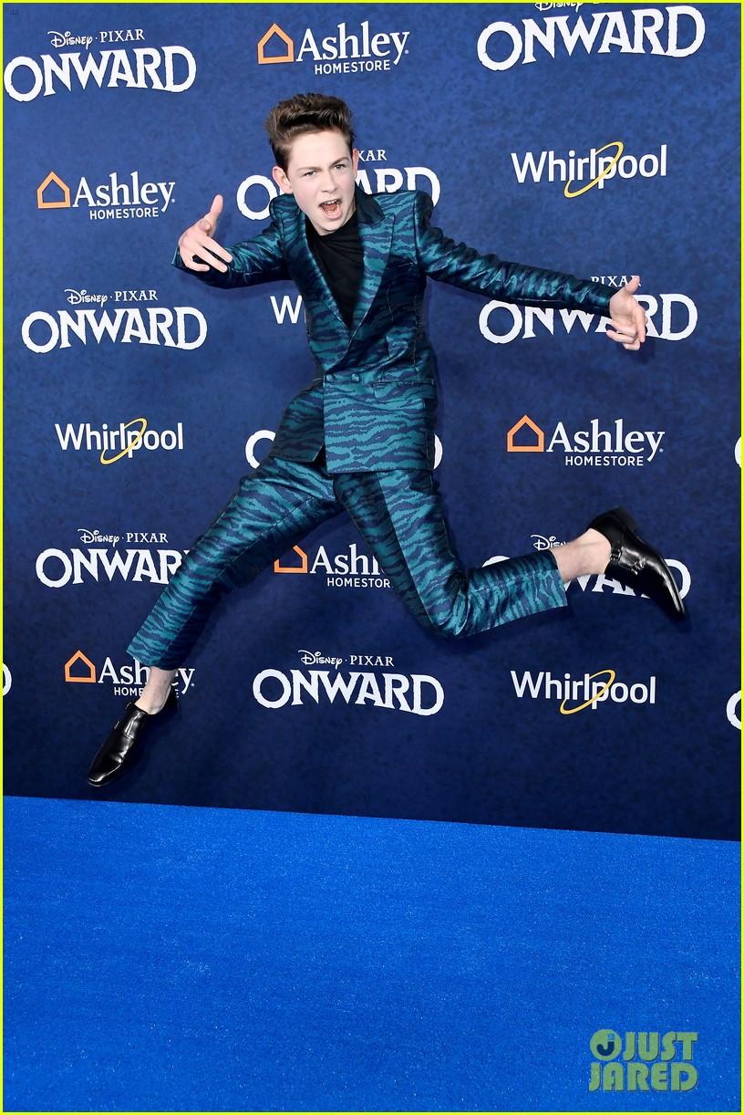 dakota lotus jumps for joy at onward premiere with olivia sanabia more 03