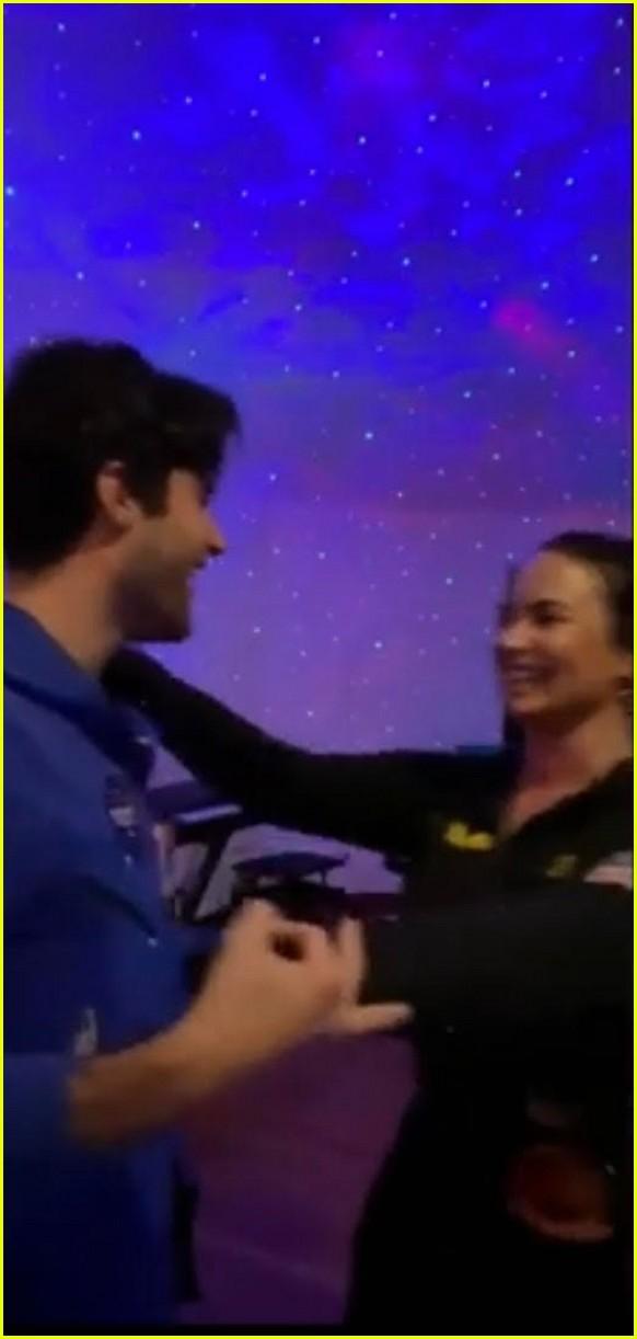 demi lovato boyfriend max ehrich kiss and dance in ariana justin music video 01