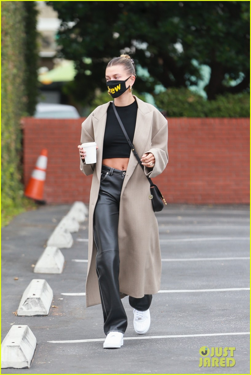 hailey bieber studio stop trench after road trip 01