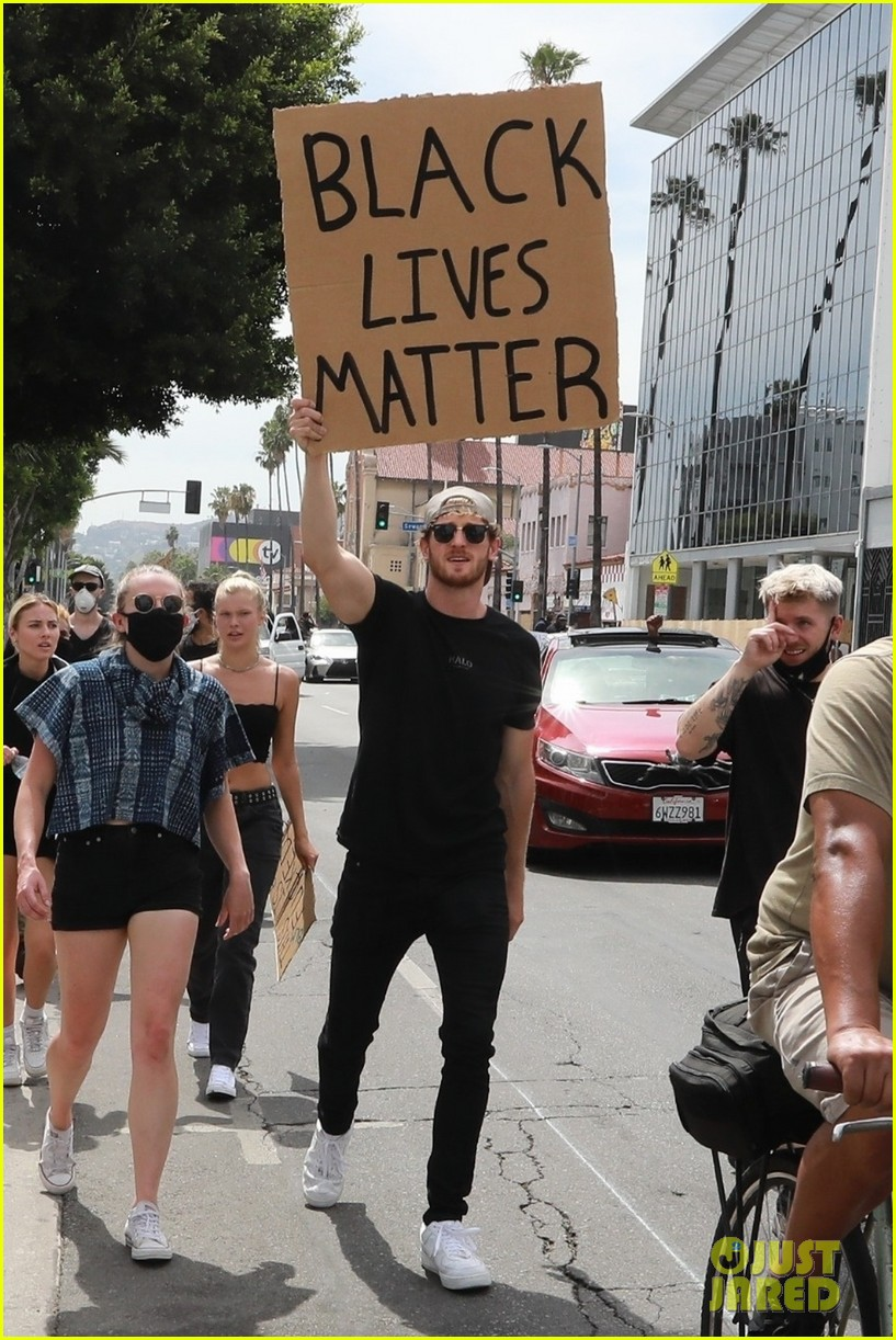 logan paul josie canseco show their support at black lives matter protest 01