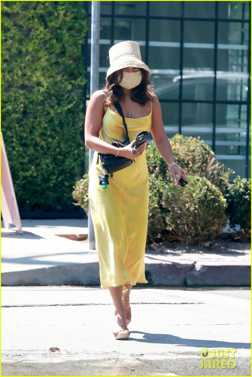 vanessa hudgens yellow dress errands workouts 05