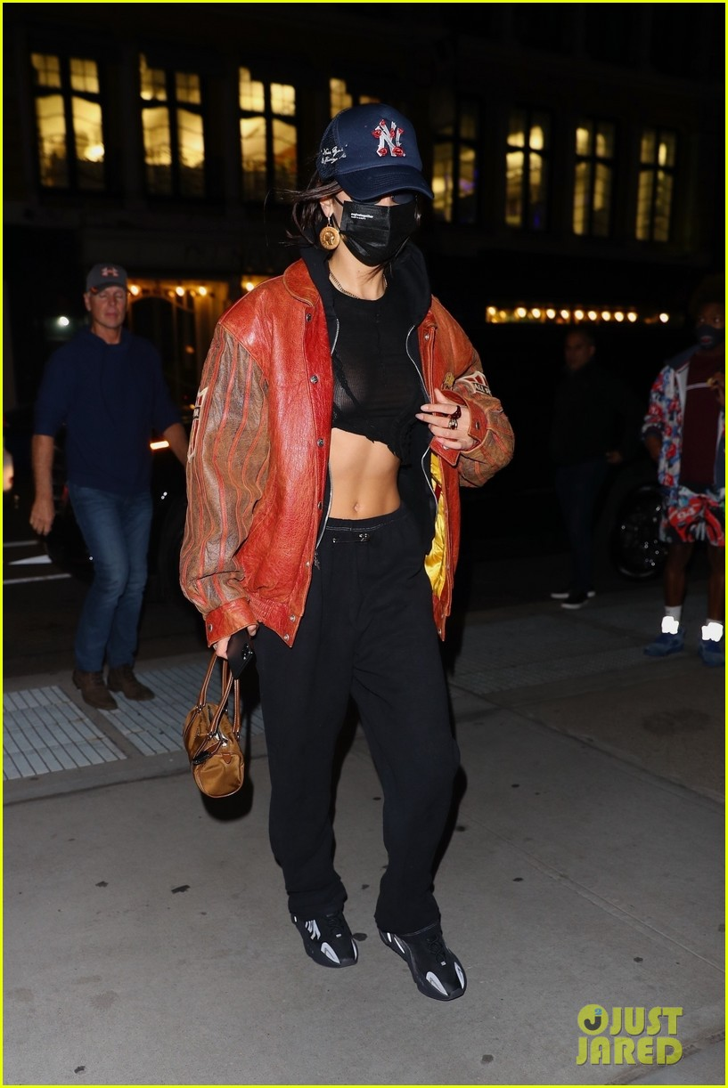 bella hadid shows midriff dinner out nyc  05