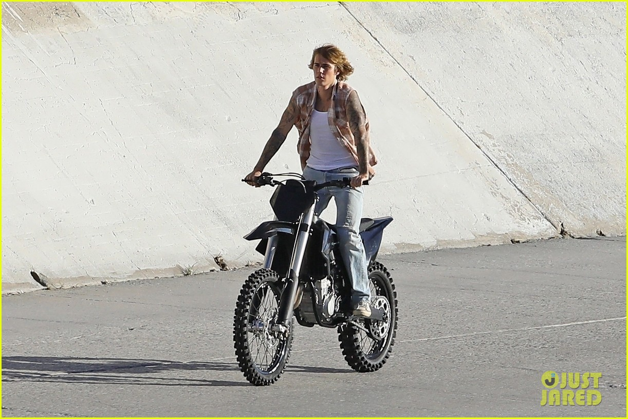 justin bieber rides motorcycle music video 25