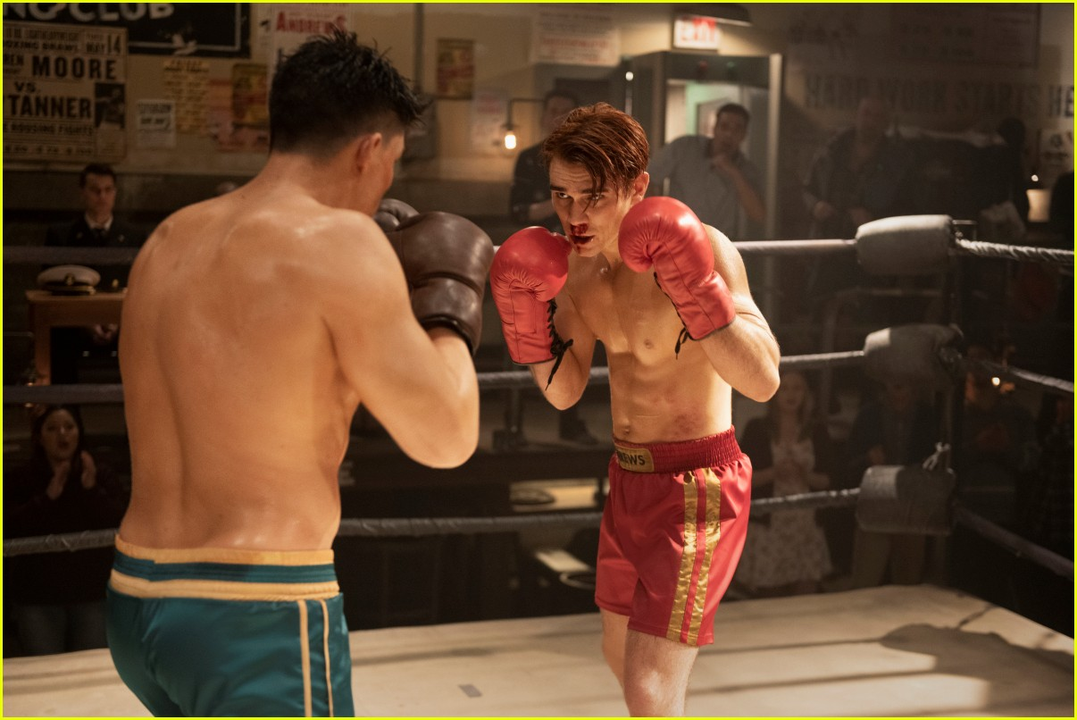 kj apa faces off with zane holtz in new shirtless riverdale stills 01