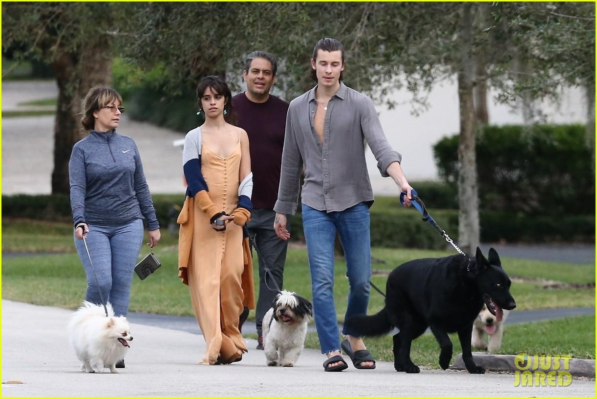 shawn mendes camila cabello walk dogs parents 05