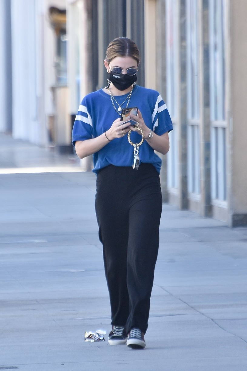 lucy hale blue look errands la after kiss skeet 00