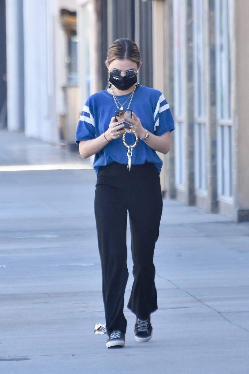 lucy hale blue look errands la after kiss skeet 13