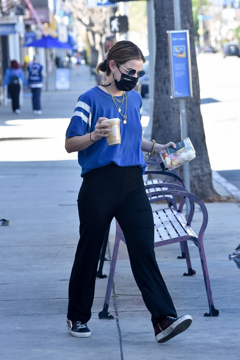 lucy hale blue look errands la after kiss skeet 20