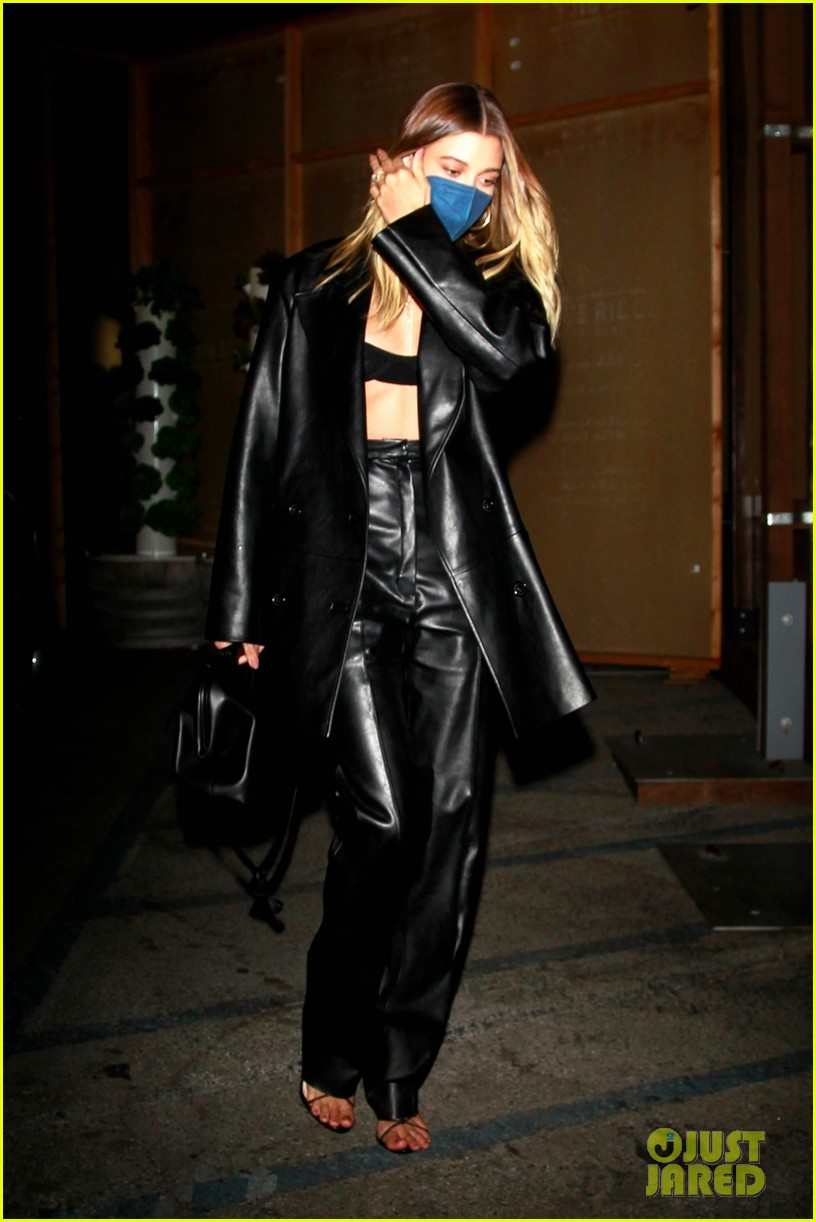 hailey bieber rocks leather look for dinner in weho 01