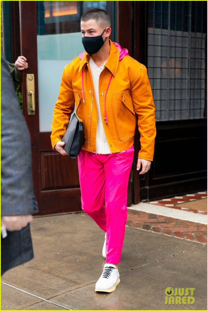 nick jonas colorful outfit out in nyc 01