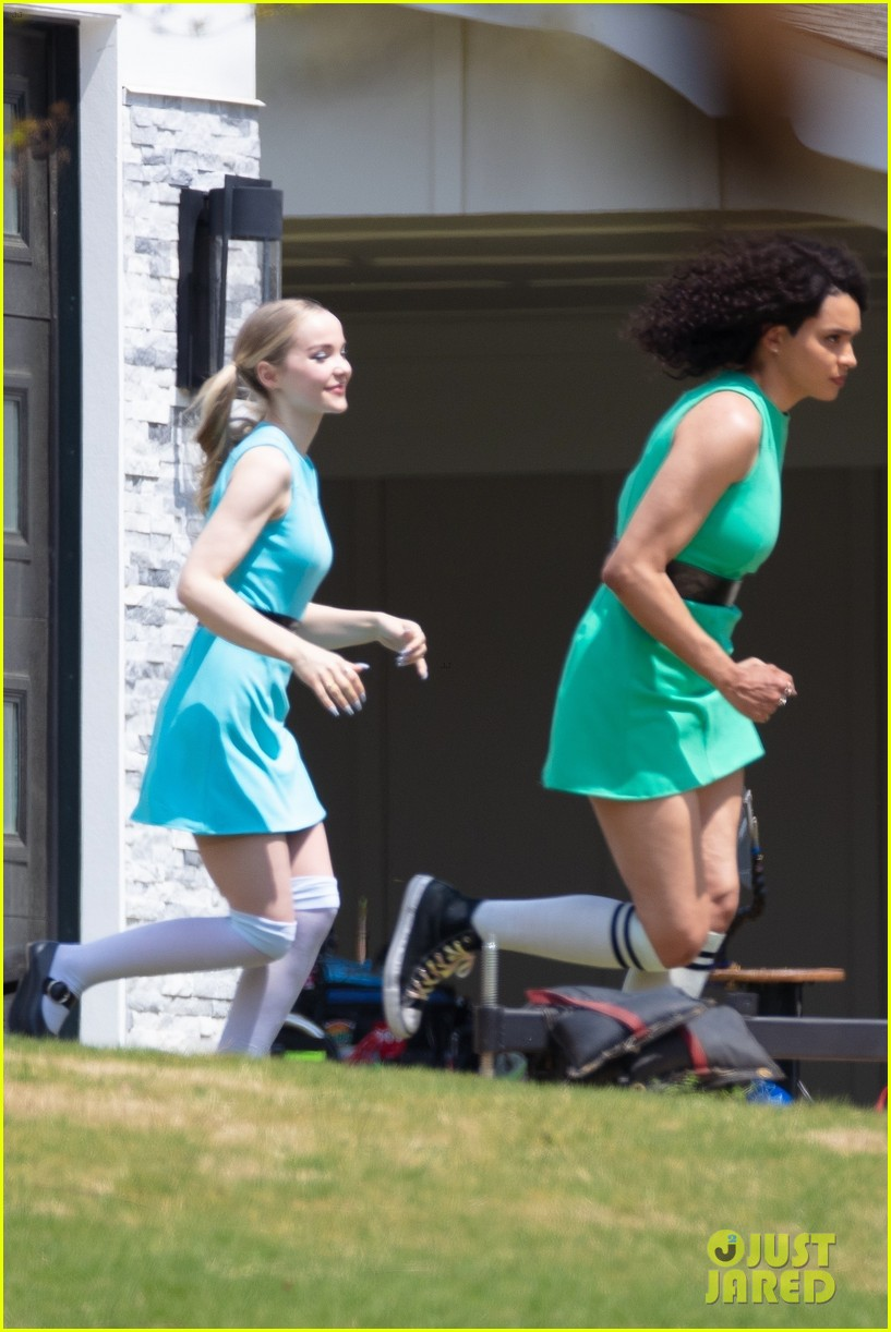 dove cameron chloe bennett yana perault get into character on first day of powerpuff 20
