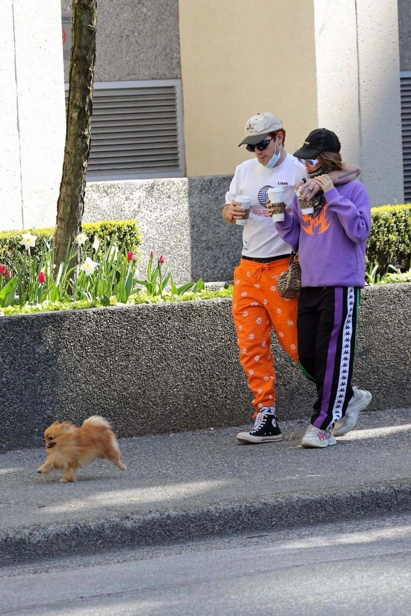 kj apa clara berry coffee walk dog vancouver 05