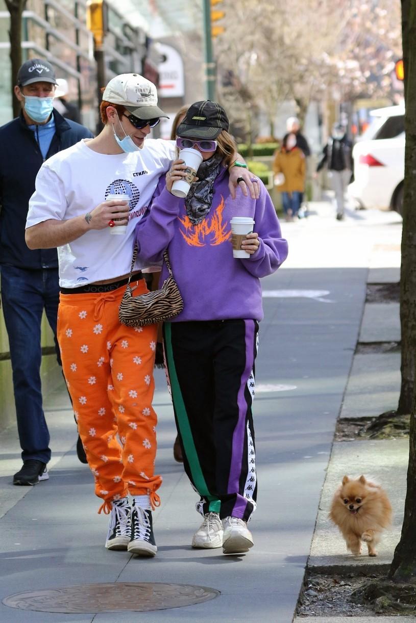 kj apa clara berry coffee walk dog vancouver 10