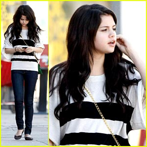 Selena Gomez is a Striped Sweetie