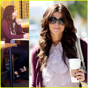 Ashley Greene Studies at Starbucks