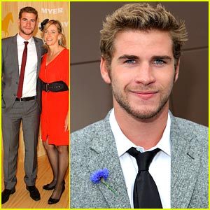 Liam Hemsworth: Melbourne Cup with Mom Leonie!