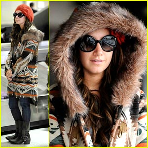 Ashley Tisdale: Hoodie Hidden at LAX