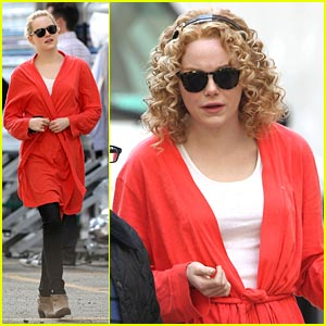 Emma Stone: Red Hot Robe on 'The Help' Set
