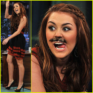 Miley Cyrus: Mustache for Jimmy Fallon!