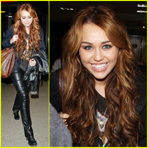 Miley Cyrus: Leather LAX Landing