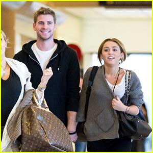 Miley Cyrus Runs Through LAX with Liam Hemsworth