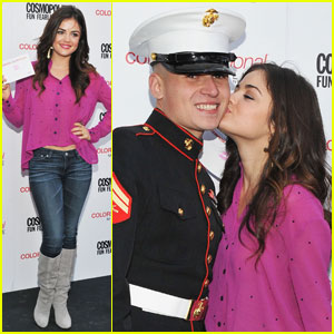 Lucy Hale: Cosmo Kisses for the Troops!