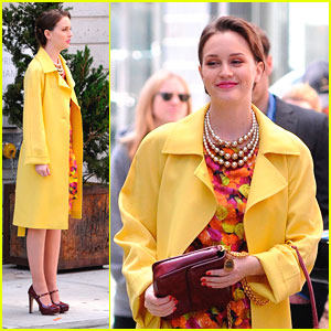 Leighton Meester: Floral Fun on 'Gossip Girl' Set