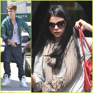 Justin Bieber & Selena Gomez Run Errands on Wednesday