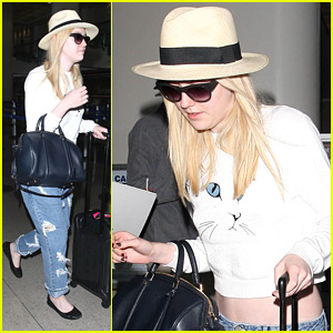 Dakota Fanning: Low Jeans at LAX