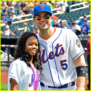 Gabby Douglas Throws Pitch at Mets Game