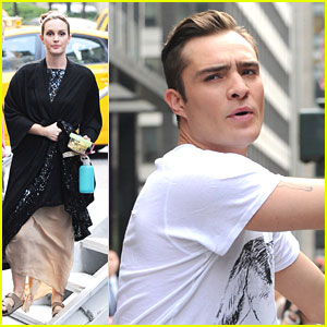 Leighton Meester Films 'Gossip Girl' with Ed Westwick