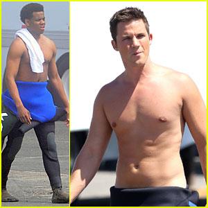 Matt Lanter & Tristan Wilds: Shirtless On The Beach For '90210'